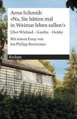 'Na, Sie hätten mal in Weimar leben sollen!'