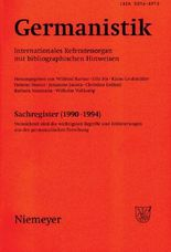 Germanistik. Internationales Referatenorgan mit bibliographischen Hinweisen / Germanistik, Sachregister (1990-1994)