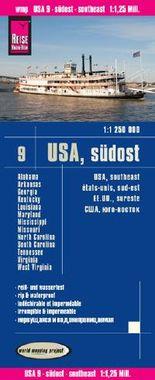 Reise Know-How Landkarte USA 9, Südost (1:1.250.000): Missouri, Kentucky, West Virginia, South Carolina, ...
