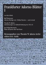 Frankfurter Adorno Blätter I