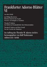 Frankfurter Adorno Blätter VI