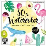 50 x Watercolor – Flamingo, Kaktus & Co.