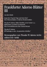 Frankfurter Adorno Blätter III