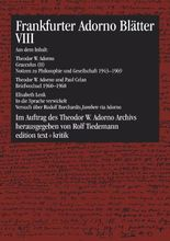 Frankfurter Adorno Blätter VIII