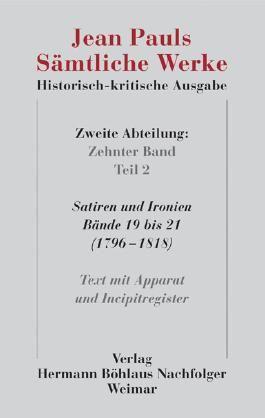 Jean Pauls Sämtliche Werke. Historisch-kritische Ausgabe