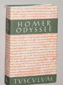 Homer: Odyssee. Griech.-Dtsch. Übertr. v. Anton Weiher. Mit Urtext. Einf. v. Alfred Heubeck. 9. Aufl. München, Artemis, 1990. Kl.-8°. 758 (1) S. Leinen. Schutzumschl. (ISBN 3-76081542-1)