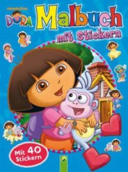 Dora Malbuch mit Stickern blau