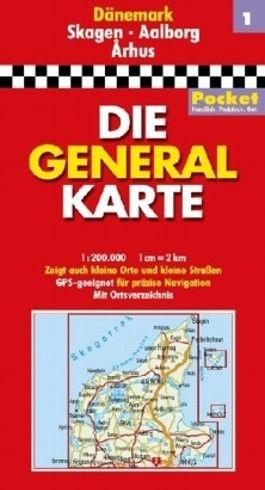 Generalkarte Dänemark Pocket Blatt 1 Skagen /Aalborg /Arhus